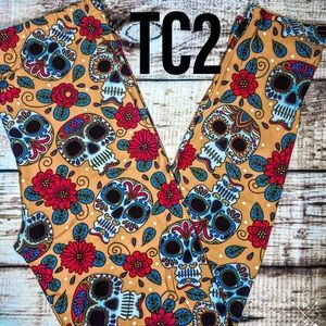 Pants - TC2 Extra Plus Floral Sugar Skull  Soft Leggings